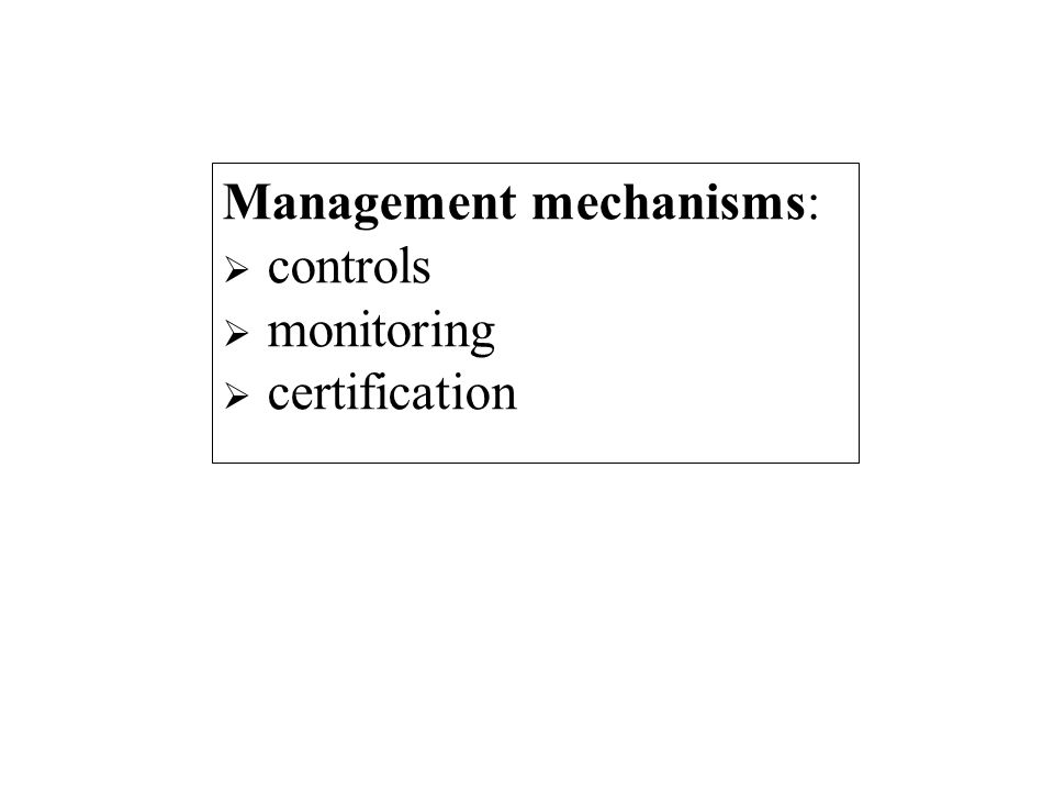 Management mechanisms: controls monitoring certification