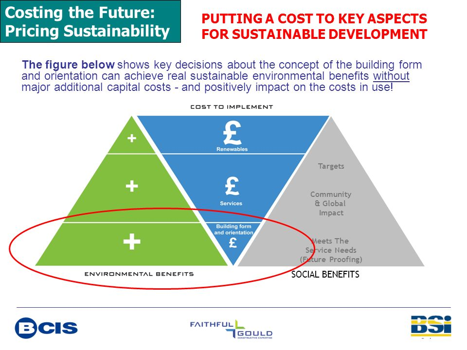 Costing the Future: Pricing Sustainability PUTTING A COST TO KEY ASPECTS FOR SUSTAINABLE DEVELOPMENT The figure below shows key decisions about the co