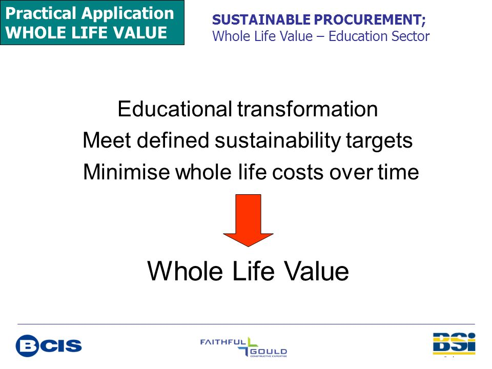 Practical Application WHOLE LIFE VALUE SUSTAINABLE PROCUREMENT; Whole Life Value – Education Sector Educational transformation Meet defined sustainabi