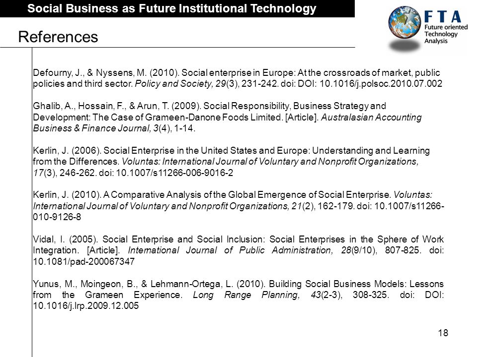 18 Social Business as Future Institutional Technology References Defourny, J., & Nyssens, M.
