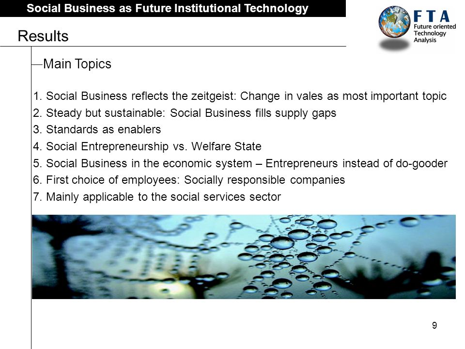 9 Social Business as Future Institutional Technology Results Main Topics 1.