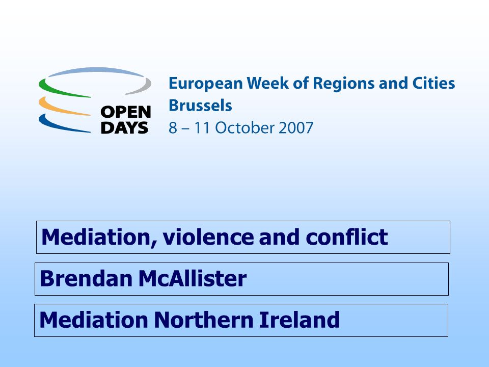 EU support to M ediation Northern Ireland – 4 The Macedonian Centre for International Cooperation Strategic Leadership seminars (2000 – 2001) Staff training in mediation and peacebuilding (2000 – 2001) MCIC Study Visits to Belfast: Senior Journalists (2004) Church and Faith leaders (2006) Address by MCIC Director, Community Relations Conference, Belfast (2007) MNI Director at U.N./O.S.C.E.