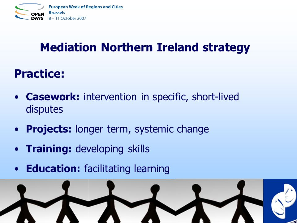 Mediation Northern Ireland strategy Practice: Casework: intervention in specific, short-lived disputes Projects: longer term, systemic change Training
