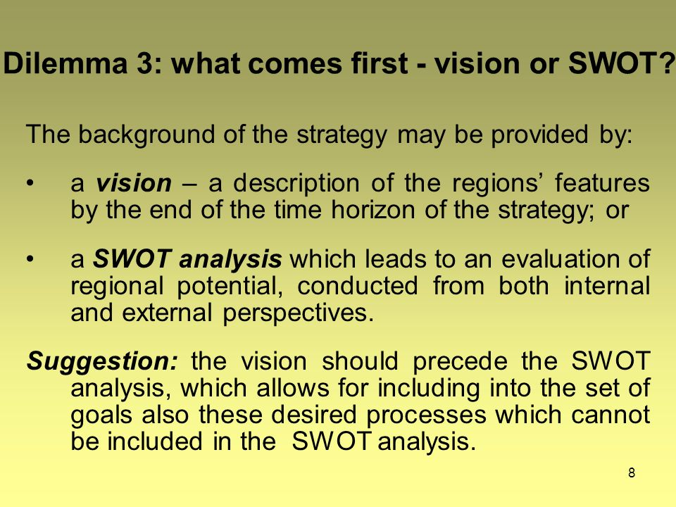 8 Dilemma 3: what comes first - vision or SWOT.