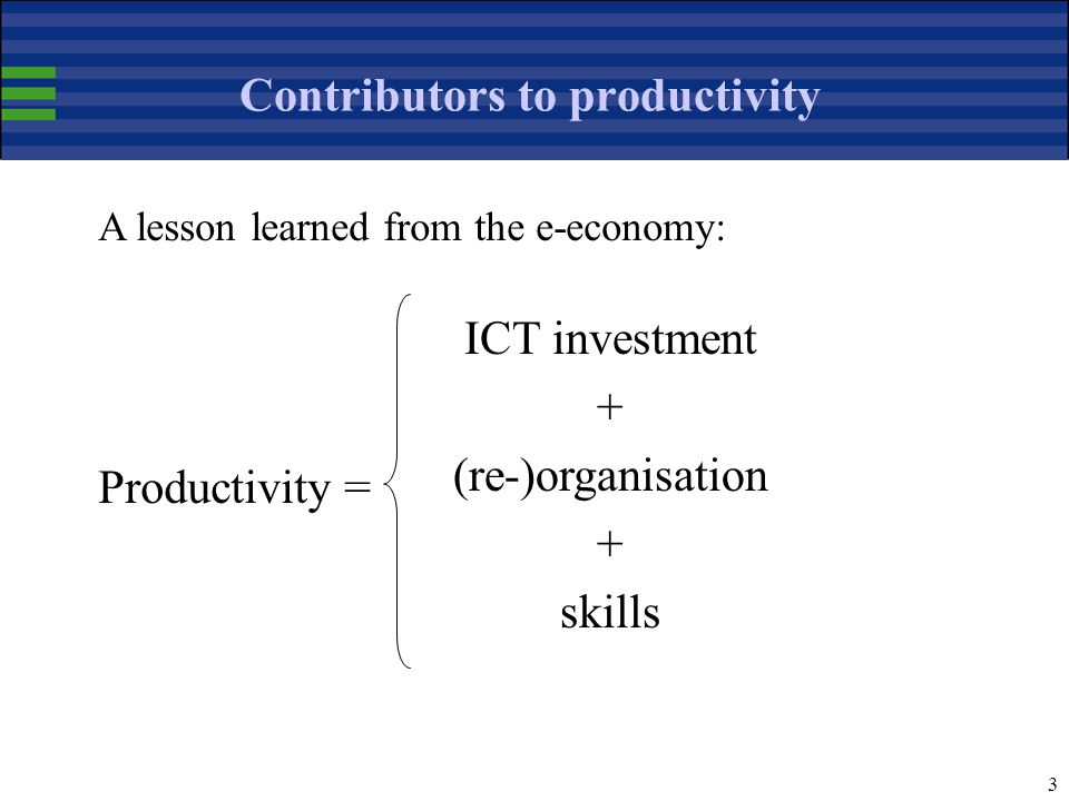 3 Contributors to productivity ICT investment + (re-)organisation + skills A lesson learned from the e-economy: Productivity =