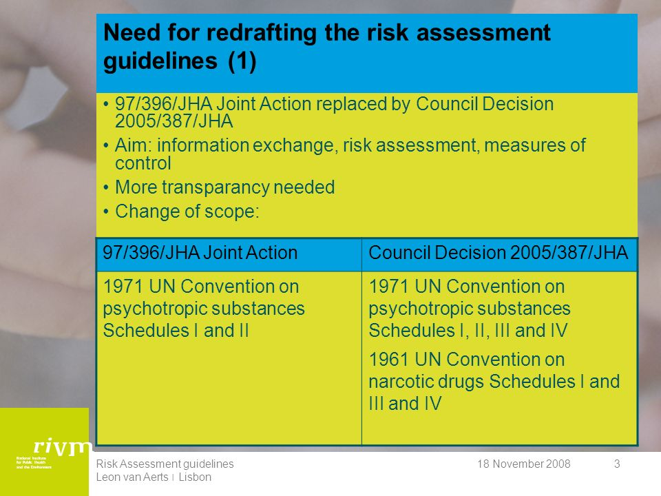 National Institute for Public Health and the Environment 18 November 2008Risk Assessment guidelines Leon van Aerts ׀ Lisbon 3 Need for redrafting the risk assessment guidelines (1) 97/396/JHA Joint Action replaced by Council Decision 2005/387/JHA Aim: information exchange, risk assessment, measures of control More transparancy needed Change of scope: 97/396/JHA Joint ActionCouncil Decision 2005/387/JHA 1971 UN Convention on psychotropic substances Schedules I and II 1971 UN Convention on psychotropic substances Schedules I, II, III and IV 1961 UN Convention on narcotic drugs Schedules I and III and IV