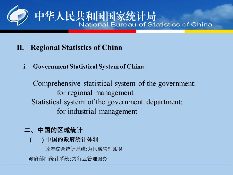 II. Regional Statistics of China i.