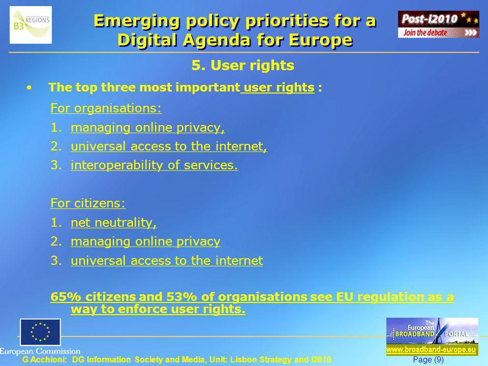 G Acchioni: DG Information Society and Media, Unit: Lisbon Strategy and i2010Page (10) Emerging policy priorities for a Digital Agenda for Europe 6.