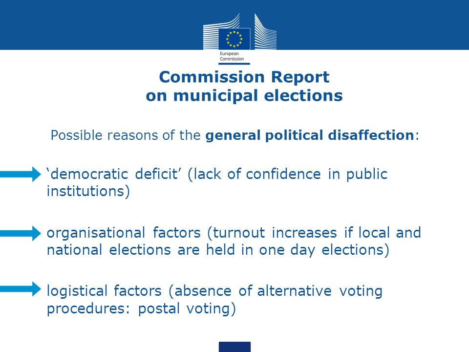 Commission Report on municipal elections Possible reasons of the general political disaffection: democratic deficit (lack of confidence in public institutions) organisational factors (turnout increases if local and national elections are held in one day elections) logistical factors (absence of alternative voting procedures: postal voting)