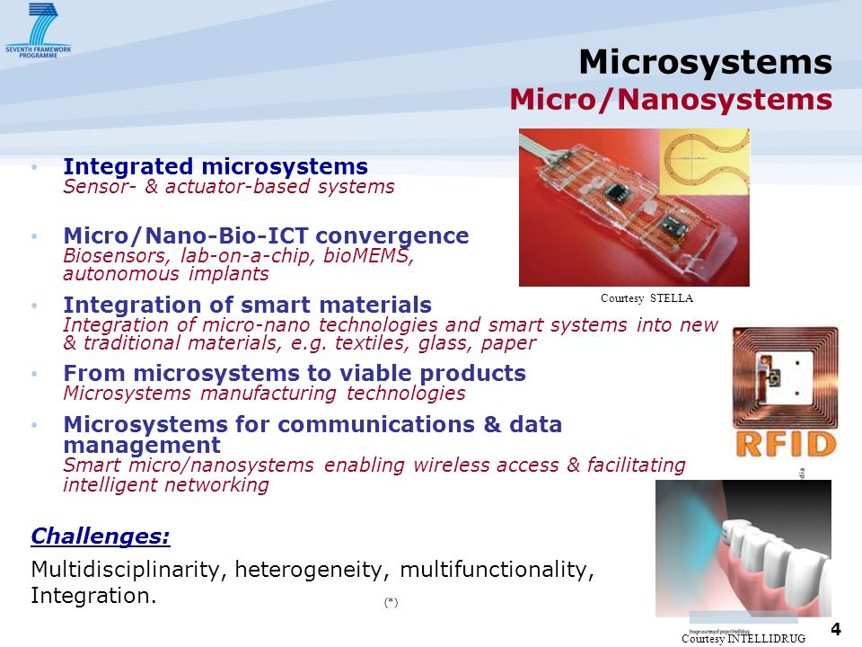 4 Microsystems Micro/Nanosystems Integrated microsystems Sensor- & actuator-based systems Micro/Nano-Bio-ICT convergence Biosensors, lab-on-a-chip, bioMEMS, autonomous implants Integration of smart materials Integration of micro-nano technologies and smart systems into new & traditional materials, e.g.