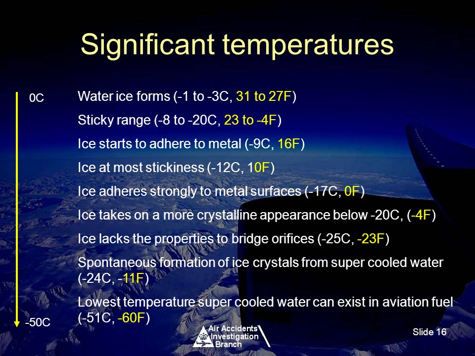 Slide 16 Significant temperatures Water ice forms (-1 to -3C, 31 to 27F) Sticky range (-8 to -20C, 23 to -4F) Ice starts to adhere to metal (-9C, 16F) Ice at most stickiness (-12C, 10F) Ice adheres strongly to metal surfaces (-17C, 0F) Ice takes on a more crystalline appearance below -20C, (-4F) Ice lacks the properties to bridge orifices (-25C, -23F) Spontaneous formation of ice crystals from super cooled water (-24C, -11F) Lowest temperature super cooled water can exist in aviation fuel (-51C, -60F) 0C -50C