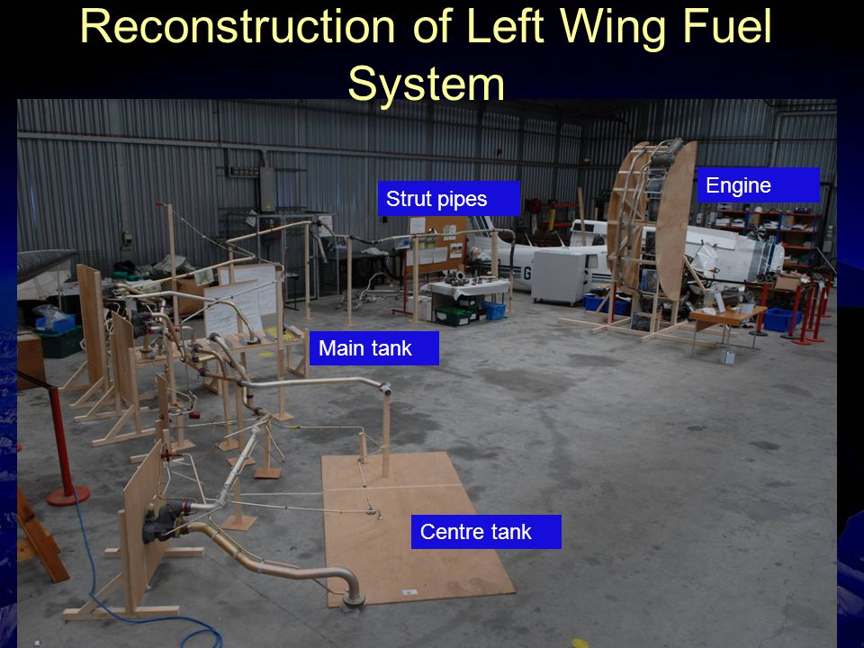 Slide 8 Reconstruction of Left Wing Fuel System Engine Centre tank Main tank Strut pipes