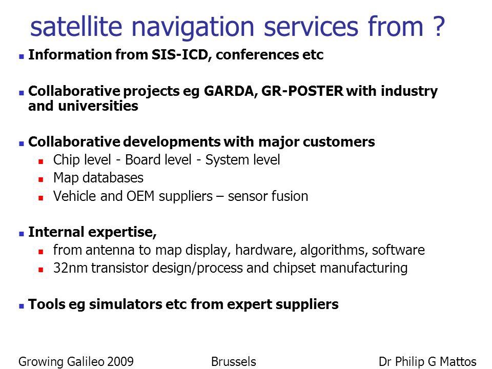 Growing Galileo 2009 Brussels Dr Philip G Mattos satellite navigation services from ? Information from SIS-ICD, conferences etc Collaborative projects