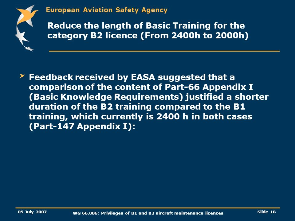 European Aviation Safety Agency 05 July 2007 WG 66.006: Privileges of B1 and B2 aircraft maintenance licences Slide 19 Reduce the length of Basic Training for the category B2 licence (From 2400h to 2000h) A comparison was performed between the B1 and B2 basic syllabus, taking into account the following: Number of Modules/Sub-modules/Items.