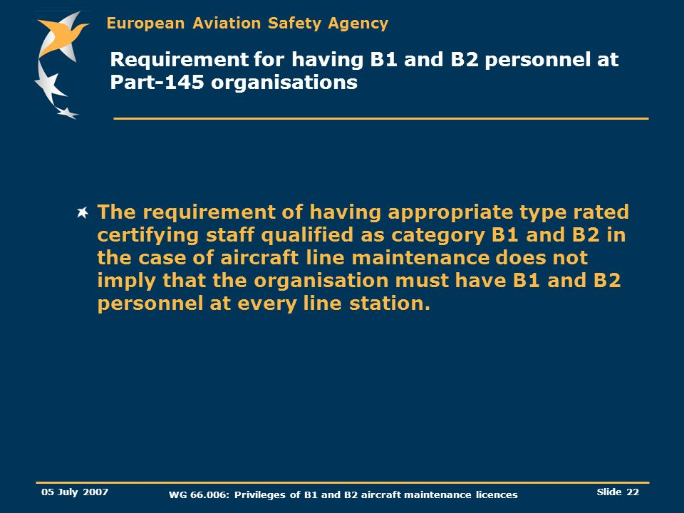 European Aviation Safety Agency 05 July 2007 WG 66.006: Privileges of B1 and B2 aircraft maintenance licences Slide 23 Transition provisions for entry into force and application.