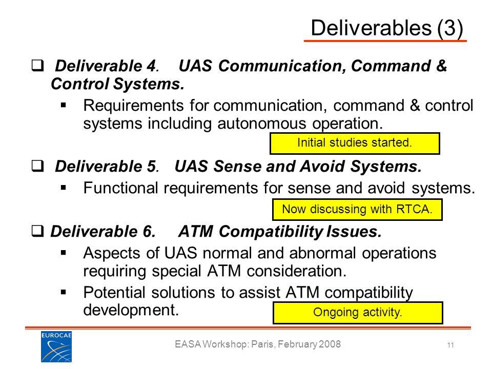 EASA Workshop: Paris, February 2008 11 Deliverables (3) Deliverable 4. UAS Communication, Command & Control Systems. Requirements for communication, c