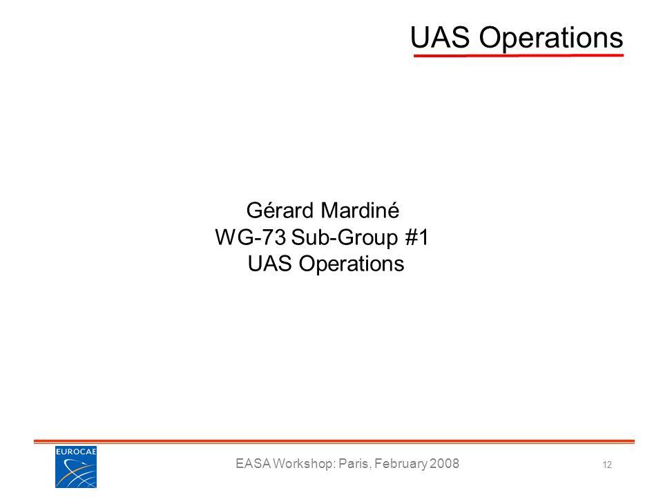 EASA Workshop: Paris, February 2008 12 UAS Operations Gérard Mardiné WG-73 Sub-Group #1 UAS Operations