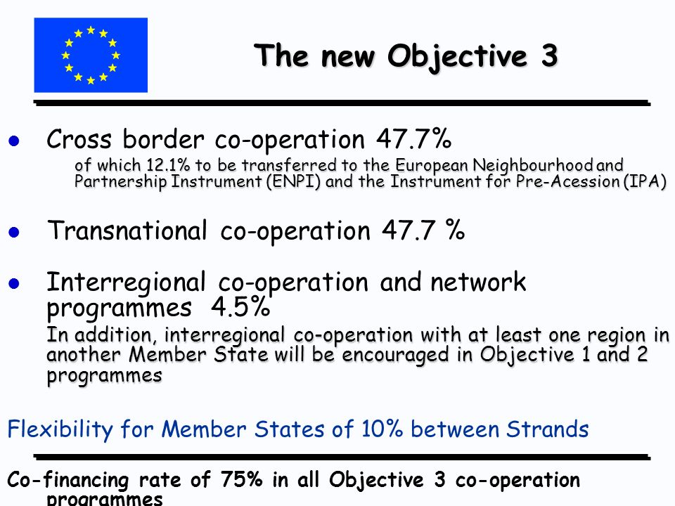 The new Objective 3 The new Objective 3 l l Cross border co-operation 47.7% of which 12.1% to be transferred to the European Neighbourhood and Partnership Instrument (ENPI) and the Instrument for Pre-Acession (IPA) l l Transnational co-operation 47.7 % l l Interregional co-operation and network programmes 4.5% In addition, interregional co-operation with at least one region in another Member State will be encouraged in Objective 1 and 2 programmes Flexibility for Member States of 10% between Strands Co-financing rate of 75% in all Objective 3 co-operation programmes