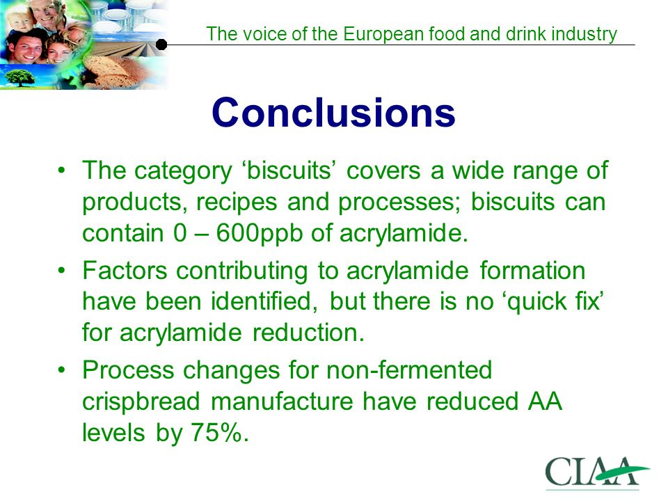 The voice of the European food and drink industry Conclusions The category biscuits covers a wide range of products, recipes and processes; biscuits can contain 0 – 600ppb of acrylamide.