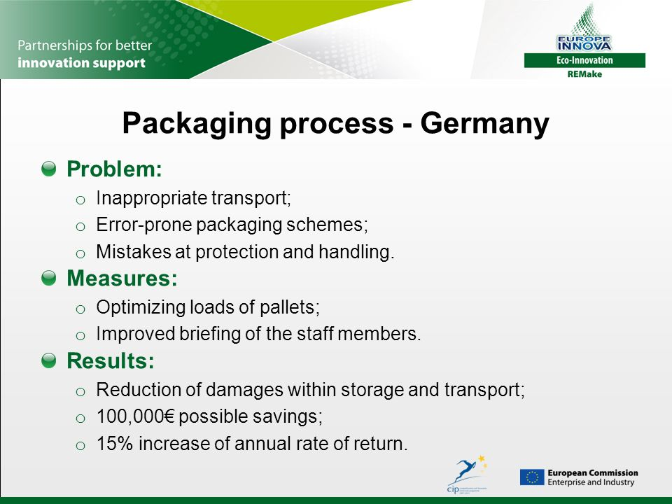 Packaging process - Germany Problem: o Inappropriate transport; o Error-prone packaging schemes; o Mistakes at protection and handling.