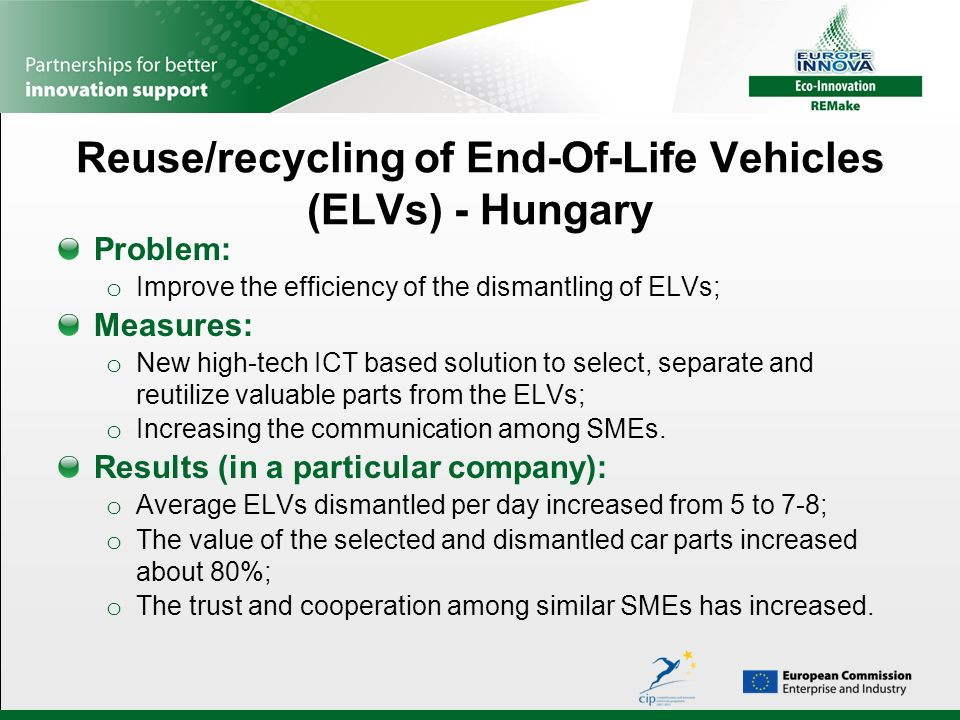 Reuse/recycling of End-Of-Life Vehicles (ELVs) - Hungary Problem: o Improve the efficiency of the dismantling of ELVs; Measures: o New high-tech ICT b