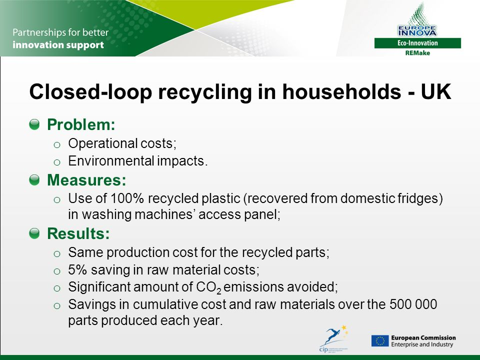 Closed-loop recycling in households - UK Problem: o Operational costs; o Environmental impacts. Measures: o Use of 100% recycled plastic (recovered fr