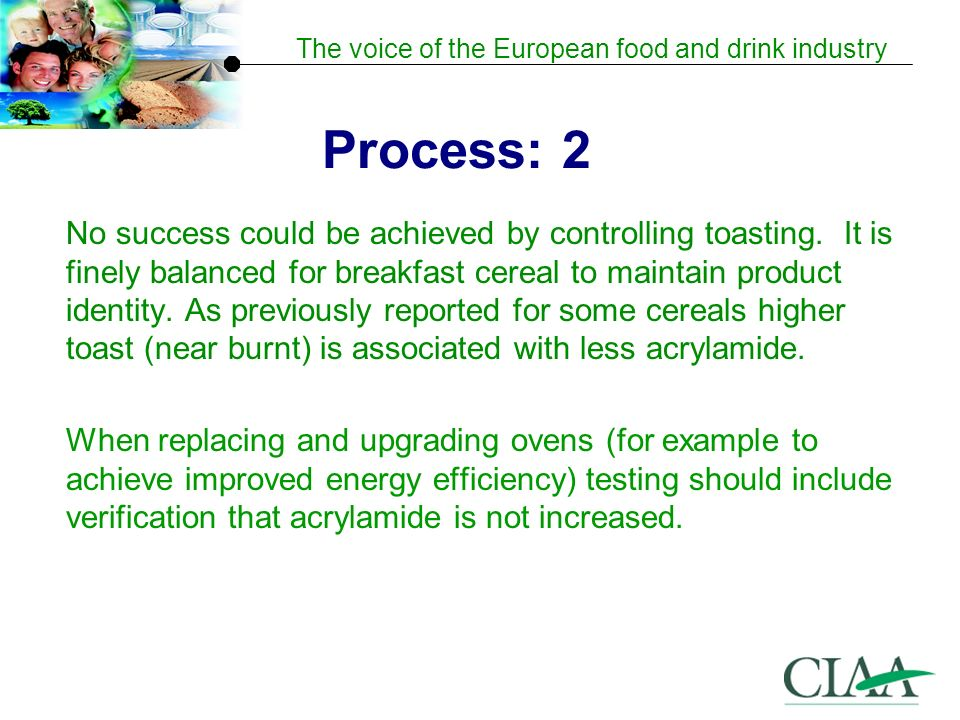 The voice of the European food and drink industry Process: 2 No success could be achieved by controlling toasting.