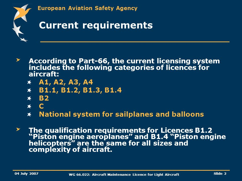 European Aviation Safety Agency 04 July 2007 WG 66.022: Aircraft Maintenance Licence for Light Aircraft Slide 2 Current requirements According to Part