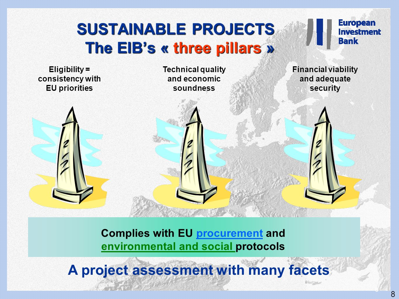 8 8 A project assessment with many facets SUSTAINABLE PROJECTS The EIBs « three pillars » Eligibility = consistency with EU priorities Technical quali
