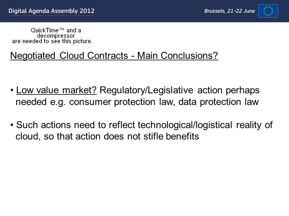 Negotiated Cloud Contracts - Main Conclusions. Low value market.