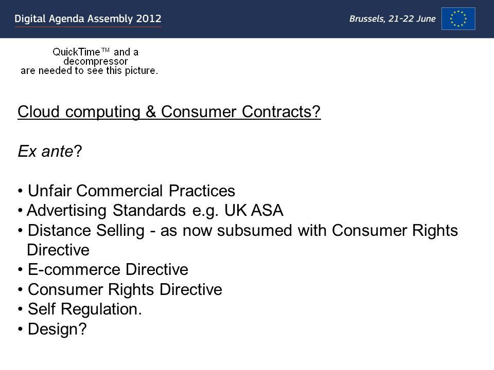 Cloud computing & Consumer Contracts. Ex ante.