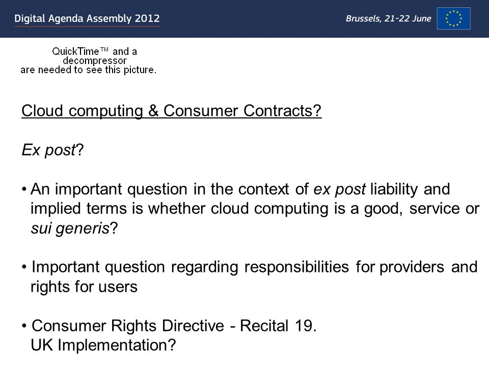 Cloud computing & Consumer Contracts. Ex post.