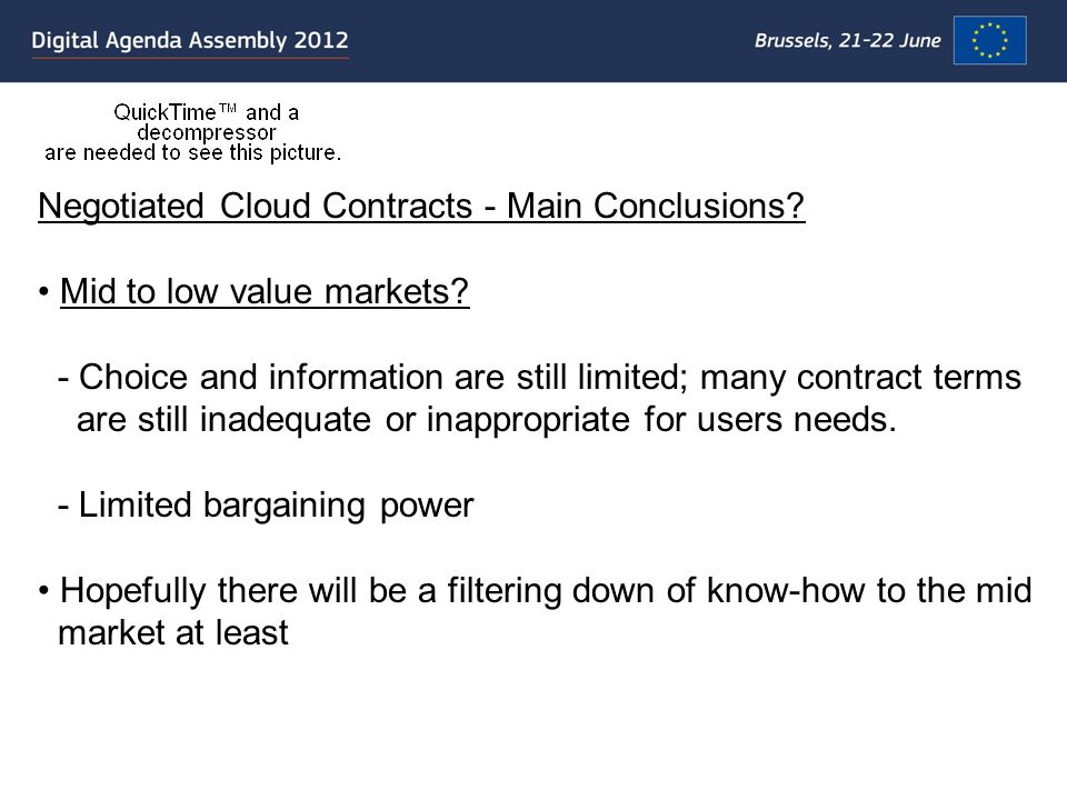 Negotiated Cloud Contracts - Main Conclusions.Low value market.