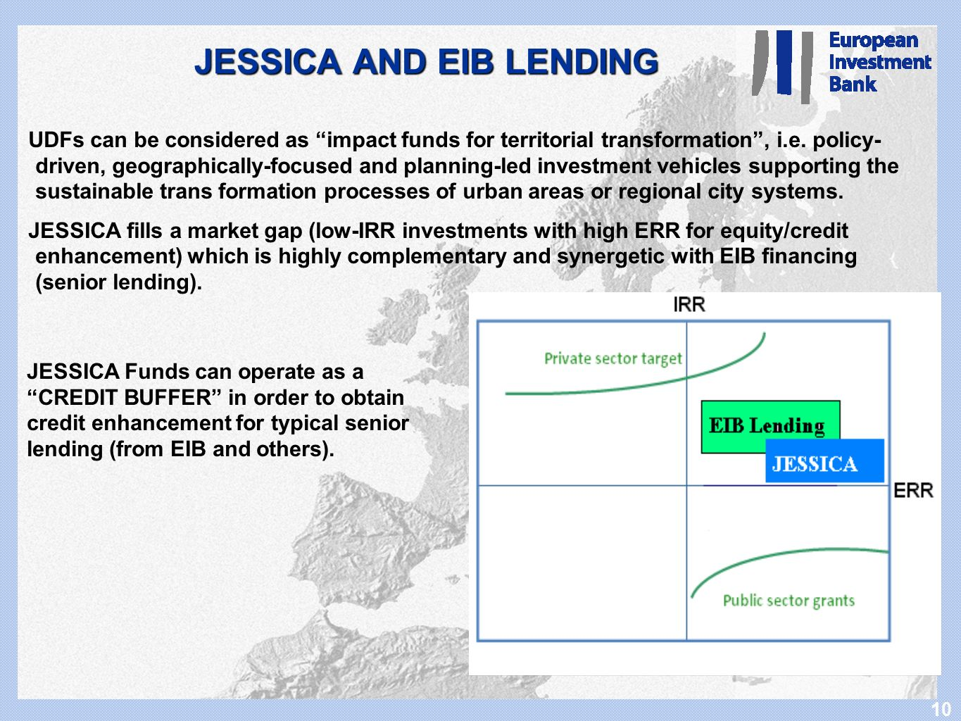 10 JESSICA AND EIB LENDING UDFs can be considered as impact funds for territorial transformation, i.e. policy- driven, geographically-focused and plan