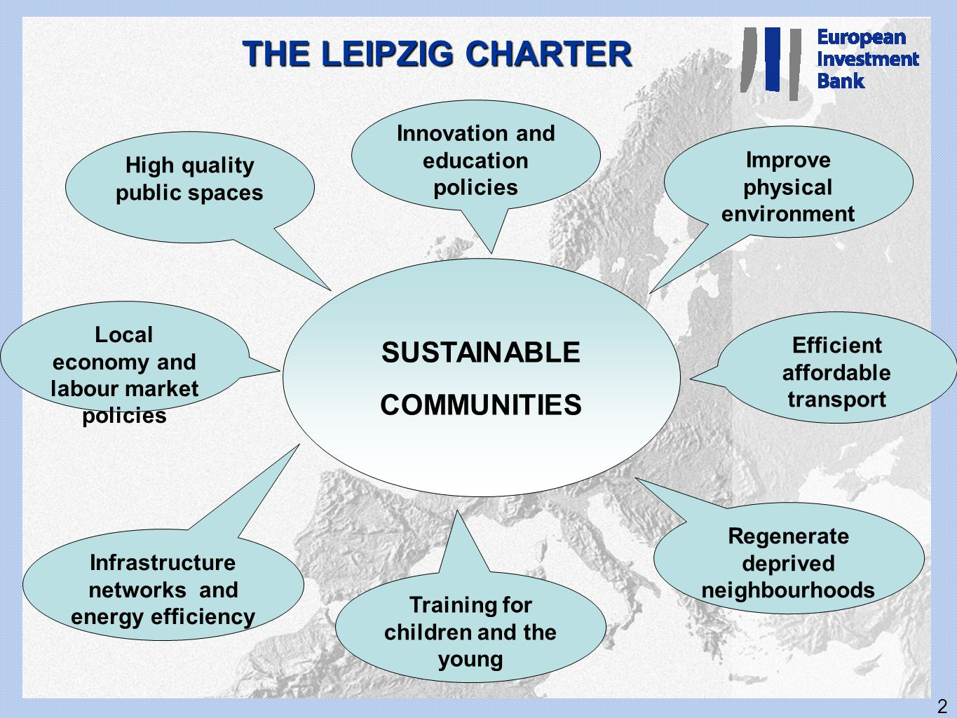 2 THE LEIPZIG CHARTER SUSTAINABLE COMMUNITIES Innovation and education policies High quality public spaces Infrastructure networks and energy efficien