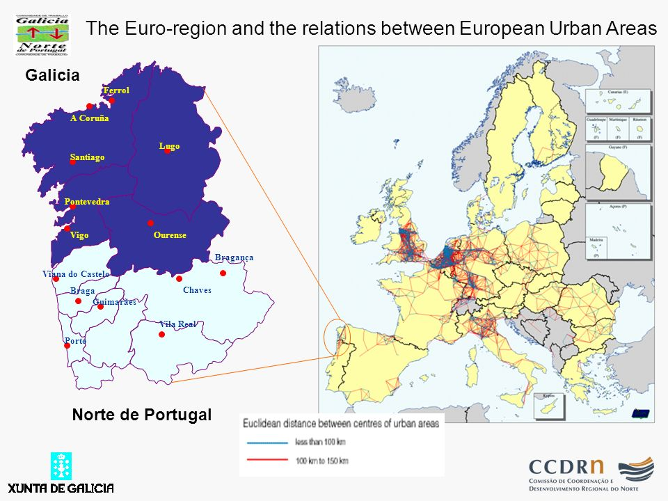 Galicia Ferrol Guimarães Braga Vila Real Bragança Porto Lugo A Coruña Santiago Pontevedra VigoOurense Viana do Castelo Chaves Norte de Portugal The Euro-region and the relations between European Urban Areas