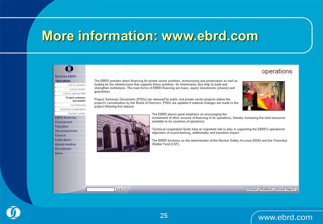 25 More information: www.ebrd.com