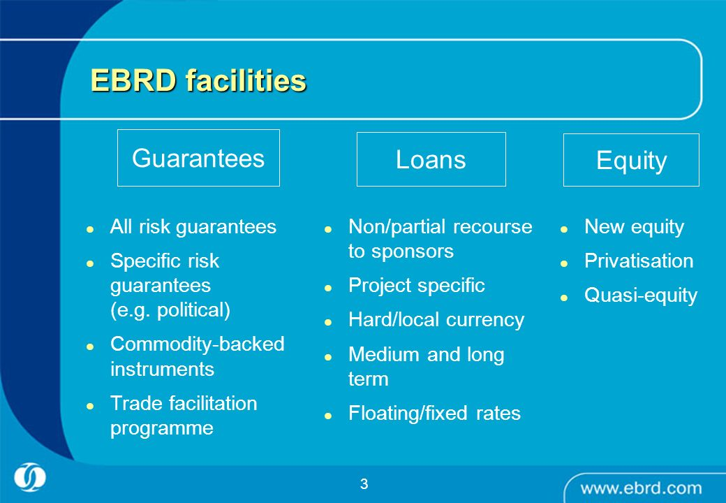3 EBRD facilities Loans Guarantees Equity All risk guarantees Specific risk guarantees (e.g. political) Commodity-backed instruments Trade facilitatio