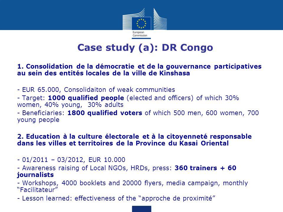 Case study (a): DR Congo 1.