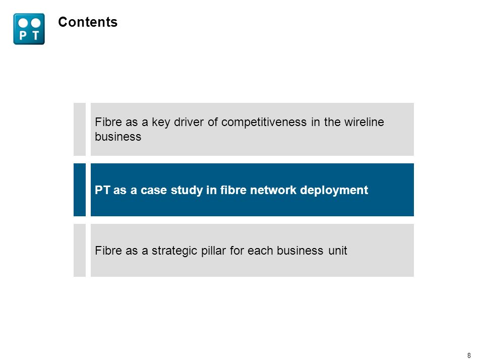 7 Local market context favourable towards investment in fibre rollout Efficient deployment fostered by full access to nationwide duct network Only competitive commercial alternative in high cable penetration and competition areas As a result, PT launched an ambitious FTTH rollout plan Note:Some double counting on the total homes passed may occur due to the possibility of the same home being served by more than a provider Source:FTTH Council The launch of PTs FTTH offer gave a boost to fibre technology in Portugal -- Anacom (July 2010) 1 million homes passed with FTTH in 2010 and the goal of 1,6 million by the end of the year PT FTTH passed homes Thousands 20112009 x4 2010 1,000 1,600