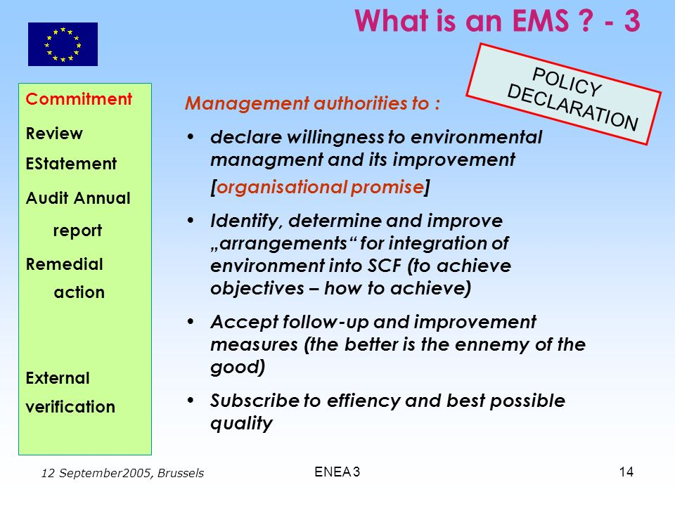 12 September2005, Brussels ENEA 314 What is an EMS ? - 3 Commitment Review EStatement Audit Annual report Remedial action External verification Manage