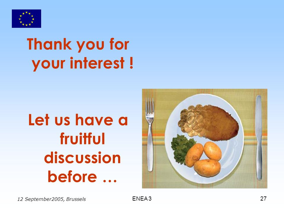 12 September2005, Brussels ENEA 327 Thank you for your interest ! Let us have a fruitful discussion before …