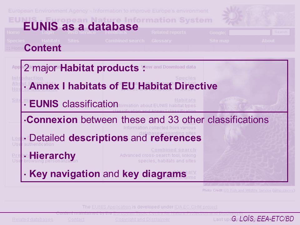 G. LOÏS, EEA-ETC/BD EUNIS as a database Content 2 major Habitat products : Annex I habitats of EU Habitat Directive EUNIS classification Connexion bet