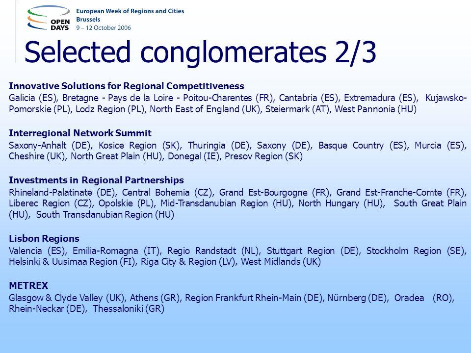 Selected conglomerates 2/3 Innovative Solutions for Regional Competitiveness Galicia (ES), Bretagne - Pays de la Loire - Poitou-Charentes (FR), Cantabria (ES), Extremadura (ES), Kujawsko- Pomorskie (PL), Lodz Region (PL), North East of England (UK), Steiermark (AT), West Pannonia (HU) Interregional Network Summit Saxony-Anhalt (DE), Kosice Region (SK), Thuringia (DE), Saxony (DE), Basque Country (ES), Murcia (ES), Cheshire (UK), North Great Plain (HU), Donegal (IE), Presov Region (SK) Investments in Regional Partnerships Rhineland-Palatinate (DE), Central Bohemia (CZ), Grand Est-Bourgogne (FR), Grand Est-Franche-Comte (FR), Liberec Region (CZ), Opolskie (PL), Mid-Transdanubian Region (HU), North Hungary (HU), South Great Plain (HU), South Transdanubian Region (HU) Lisbon Regions Valencia (ES), Emilia-Romagna (IT), Regio Randstadt (NL), Stuttgart Region (DE), Stockholm Region (SE), Helsinki & Uusimaa Region (FI), Riga City & Region (LV), West Midlands (UK) METREX Glasgow & Clyde Valley (UK), Athens (GR), Region Frankfurt Rhein-Main (DE), Nürnberg (DE), Oradea(RO), Rhein-Neckar (DE), Thessaloniki (GR)