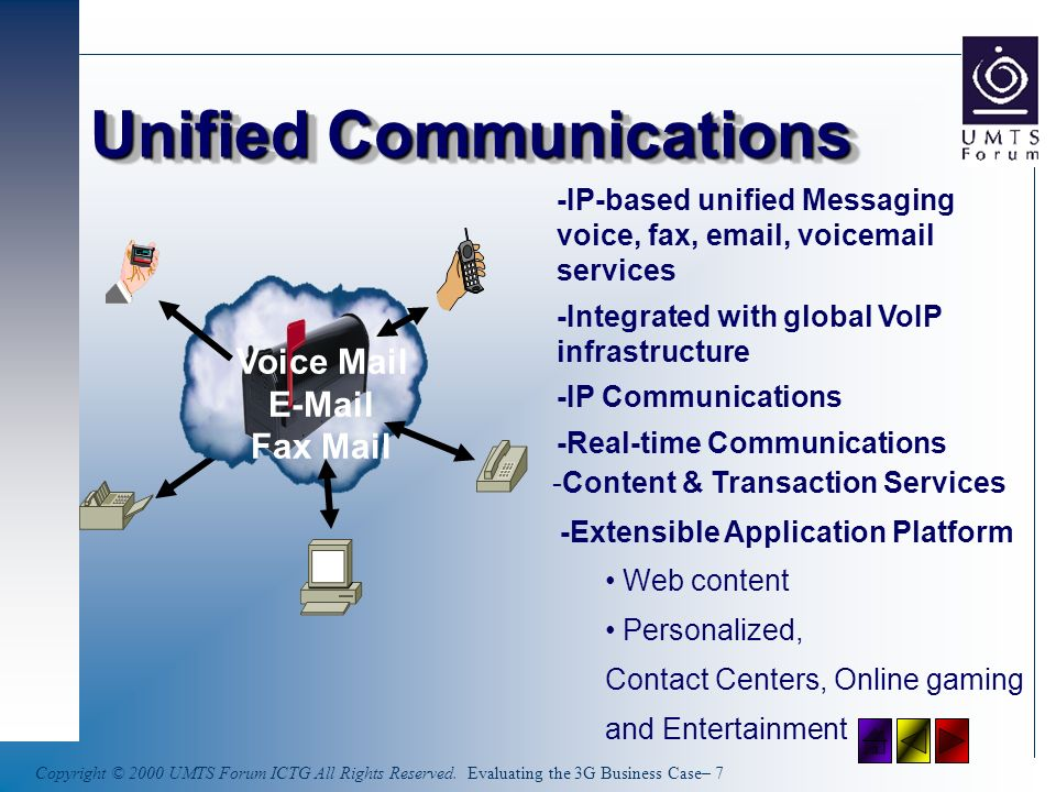 Copyright © 2000 UMTS Forum ICTG All Rights Reserved. Evaluating the 3G Business Case– 7 Unified Communications Voice Mail E-Mail Fax Mail -IP-based u