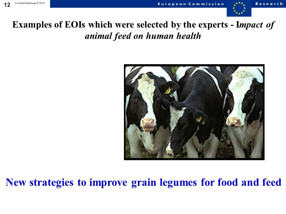 11 G.Cardon/Strasbourg/26-09-02 * Epidemiology of food-related diseases and allergies * Impact of food on health * Traceability processes all along the production chain * Methods of analysis detection and control * Safer and environmentally friendly production methods and healthier foodstuffs * Impact of animal feed on human health * Environmental health risks * Projects crossing the whole chain Priority 5: Food Quality and Safety SPECIFIC PROGRAMME: Research areas