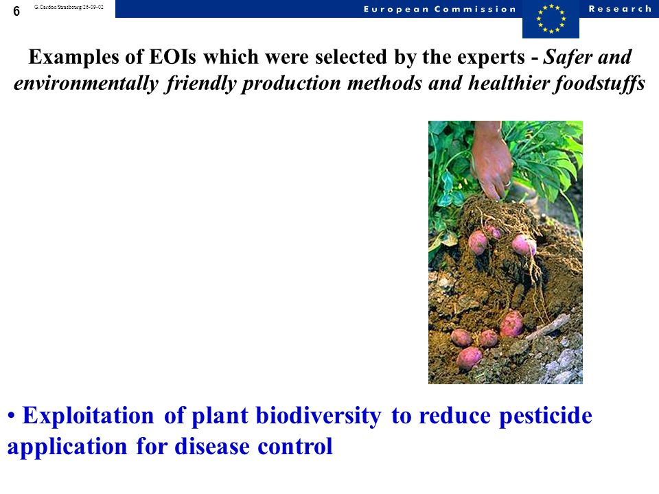 6 G.Cardon/Strasbourg/26-09-02 Examples of EOIs which were selected by the experts - Safer and environmentally friendly production methods and healthier foodstuffs Exploitation of plant biodiversity to reduce pesticide application for disease control