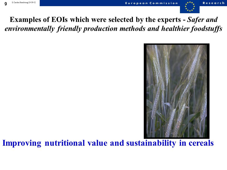 8 G.Cardon/Strasbourg/26-09-02 Examples of EOIs which were selected by the experts - Safer and environmentally friendly production methods and healthier foodstuffs Tilling as a reverse-genetics approach to improve food crops