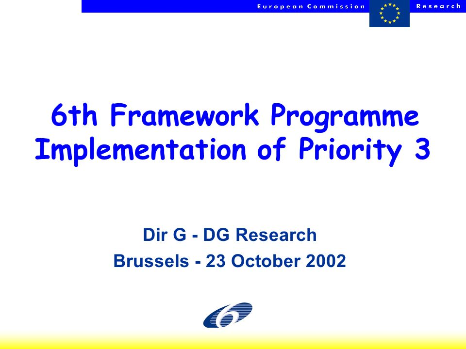 HP - NCPs - 23 Oct 2002 1 6th Framework Programme Implementation of Priority 3 Dir G - DG Research Brussels - 23 October 2002