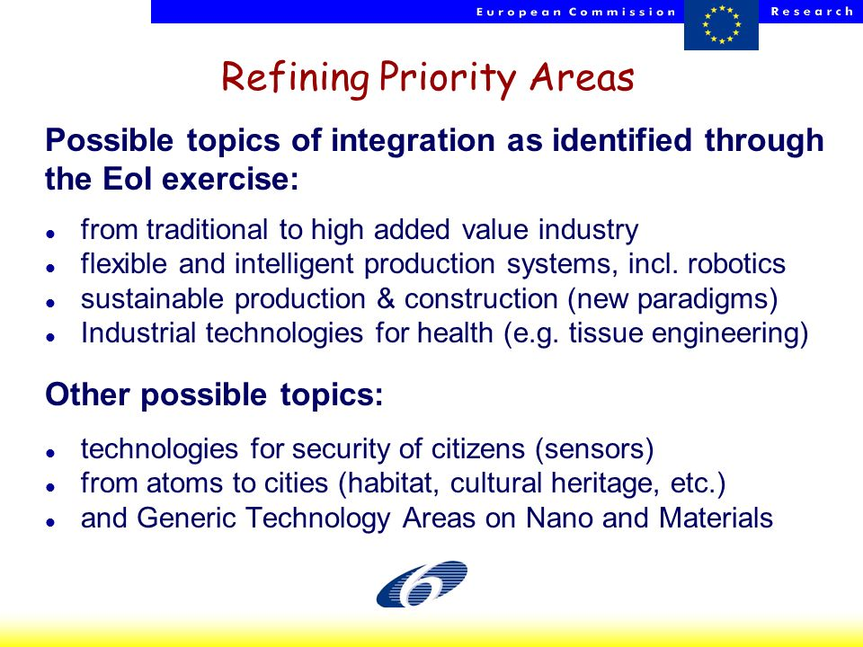 HP - NCPs - 23 Oct 2002 3 Refining Priority Areas Possible topics of integration as identified through the EoI exercise: l from traditional to high ad